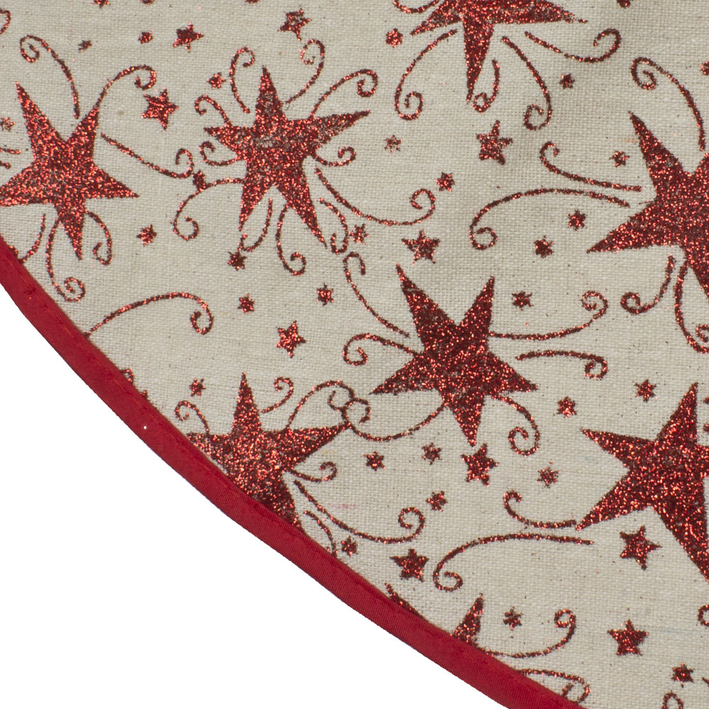 Fabric Tree Skirt With Red Glitter Stars - 100cm