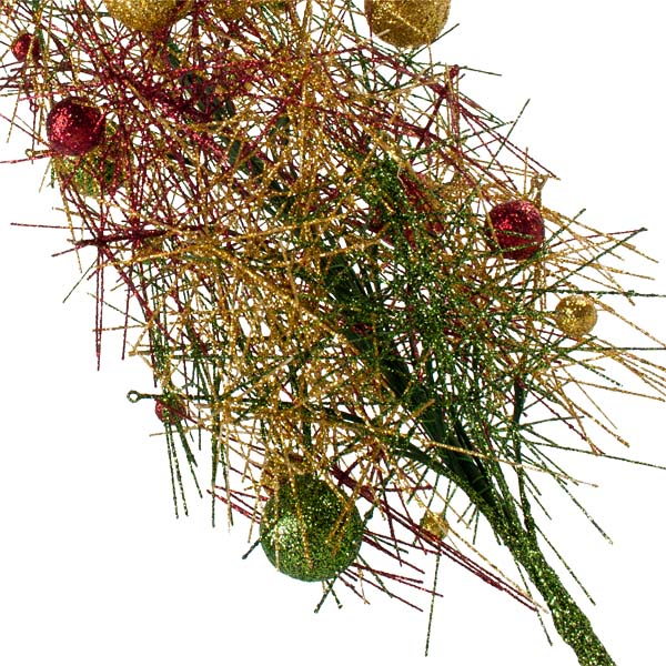 Red, Green & Gold Sparkle Burst Slim Table Top Tree - 65cm