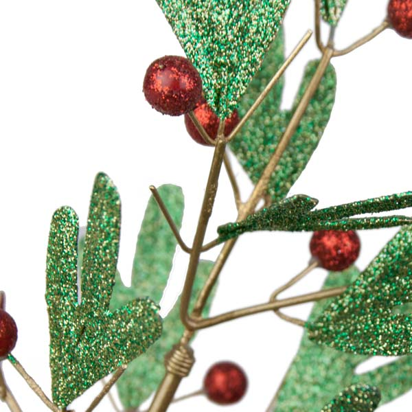Green Pine Effect Metal Table Top Tree with Red Berries - 42cm