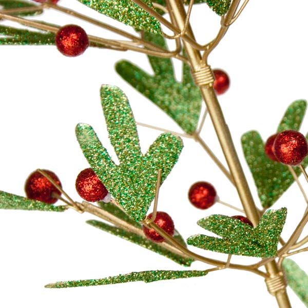 Metal Tabletop Christmas Tree: Green Pine Effect Metal Table Top Tree With Red Berries