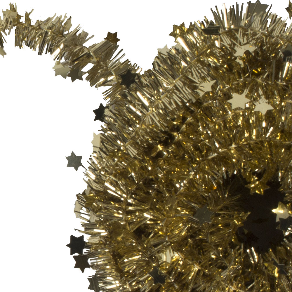 Gold Tinsel Star Garland In Acetate Tub - 7m x 35mm