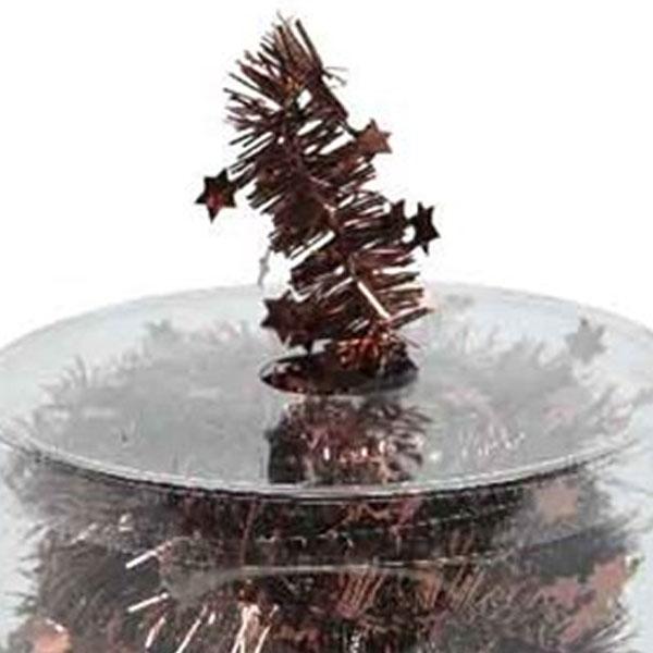 Rosewood Brown Tinsel Star Garland In Acetate Tub - 7m x 35mm