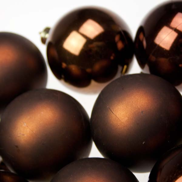 Ebony Brown Baubles - Shatterproof - Pack of 12 x 60mm