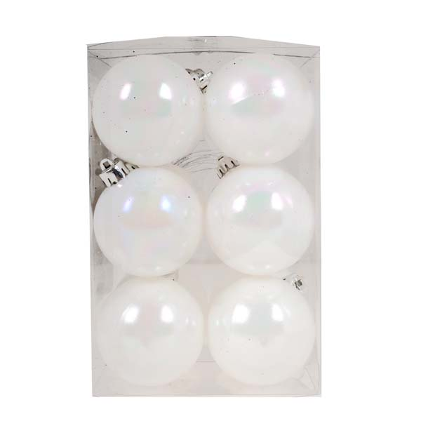 White Iridescent Baubles - Shatterproof - Pack of 12 x 60mm
