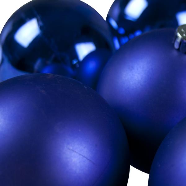 Cobalt Blue Baubles - Shatterproof - Pack of 6 x 80mm