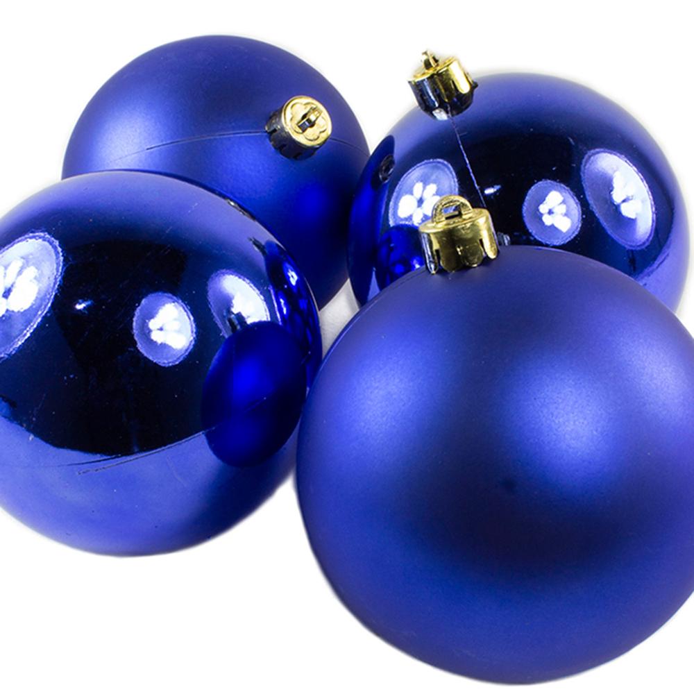 Cobalt Blue Baubles - Shatterproof - Pack of 4 x 100mm