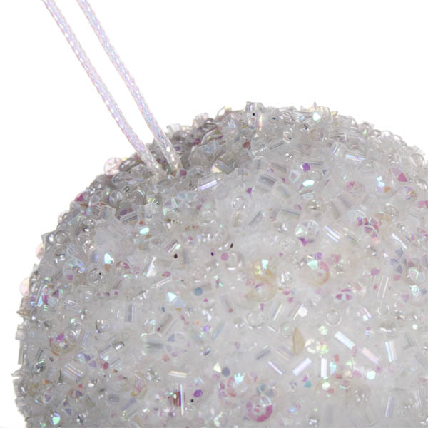 Iridescent White Beaded Bauble - 65mm