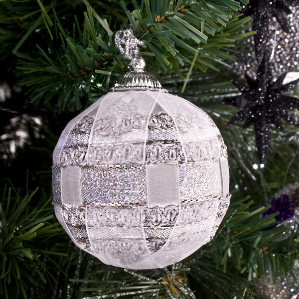 Silver Ribbon Bauble - 80mm