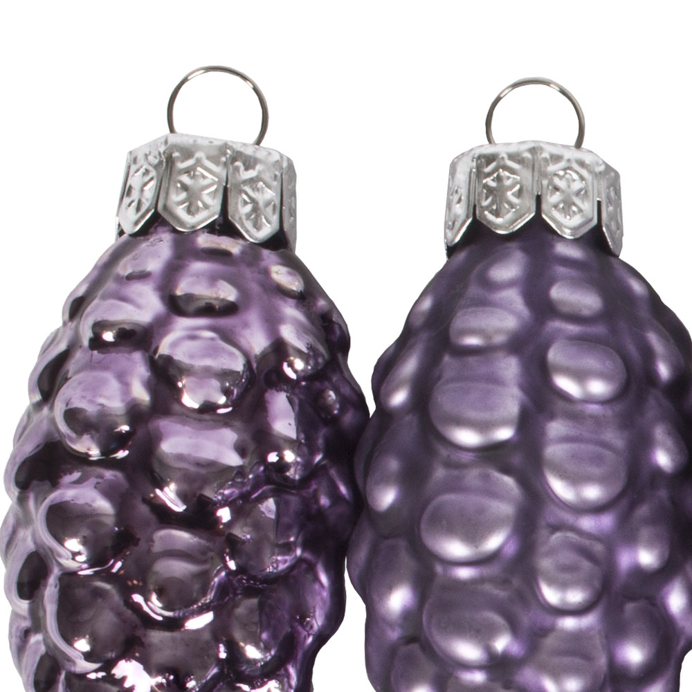 Deep Lavender Glass Pine Cones - 12 x 60mm