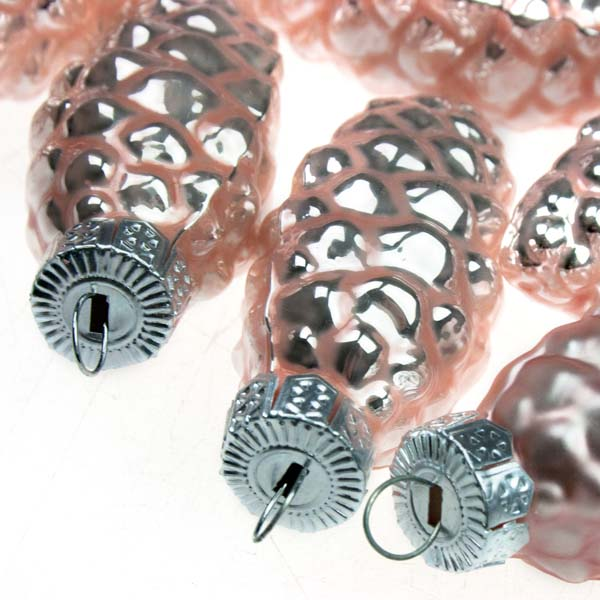 Blush Pink Glass Pine Cones - 12 x 60mm