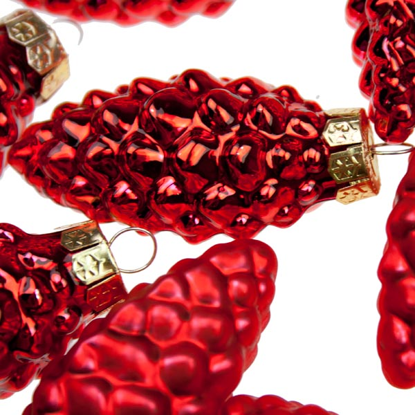 Red Glass Pine Cones - 12 x 60mm