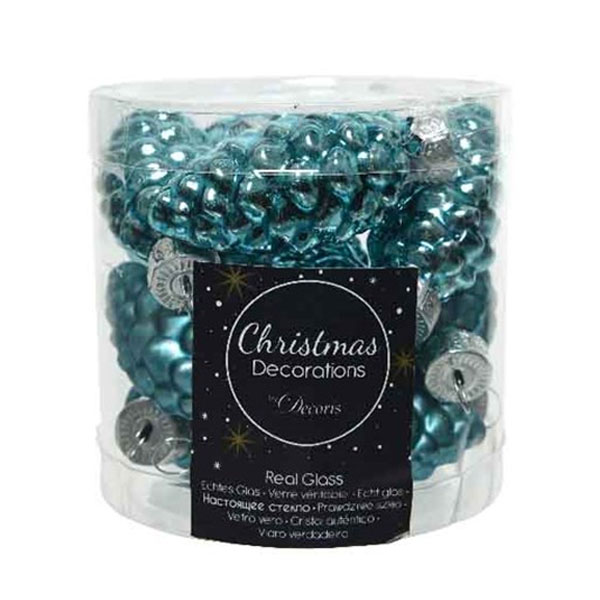 Turquoise Glass Pine Cones - 12 x 60mm