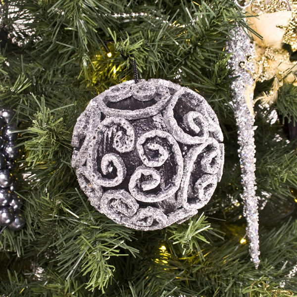 Black & Silver Swirl Decorated Bauble - 11cm