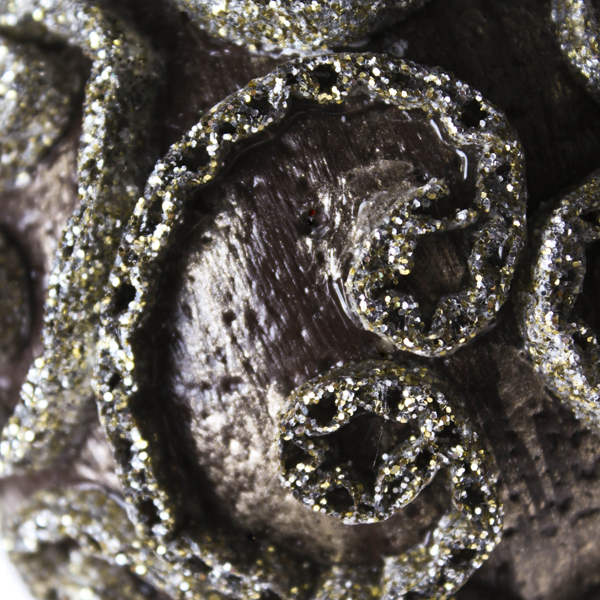 Taupe & Platinum Swirl Decorated Bauble - 11cm