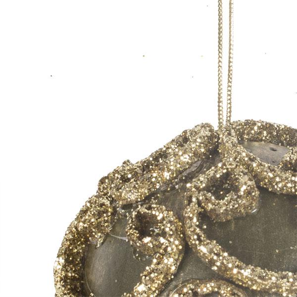 Dark Olive Green & Gold Swirl Decorated Bauble - 11cm
