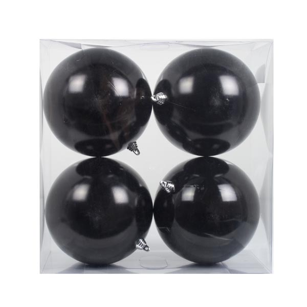 Black Baubles Shiny Shatterproof - Pack Of 4 x 140mm