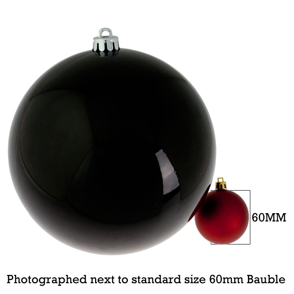 Black Baubles Shiny Shatterproof - Single 200mm