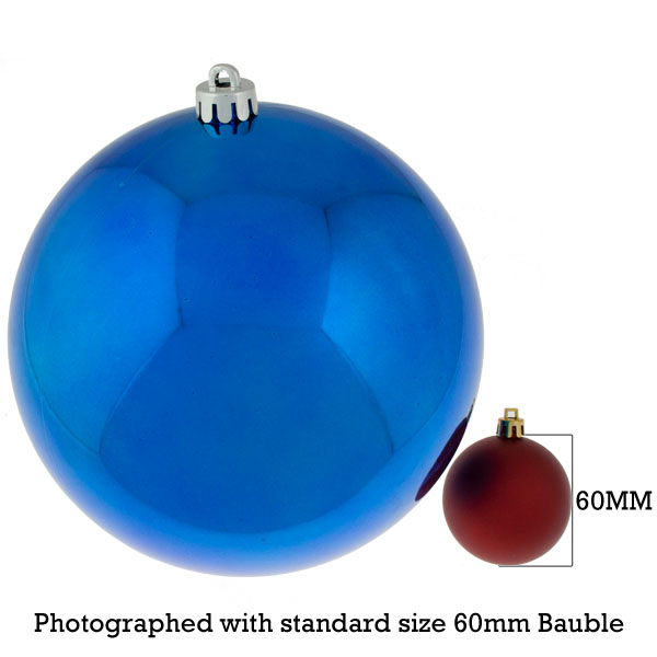 Blue Baubles Shiny Shatterproof - Single 200mm