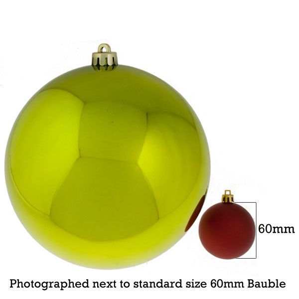 Lime Green Baubles Shiny Shatterproof - Single 200mm