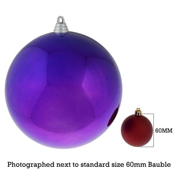 Purple Baubles Shiny Shatterproof - Single 200mm