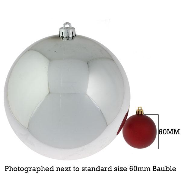Silver Baubles Shiny Shatterproof - Single 200mm