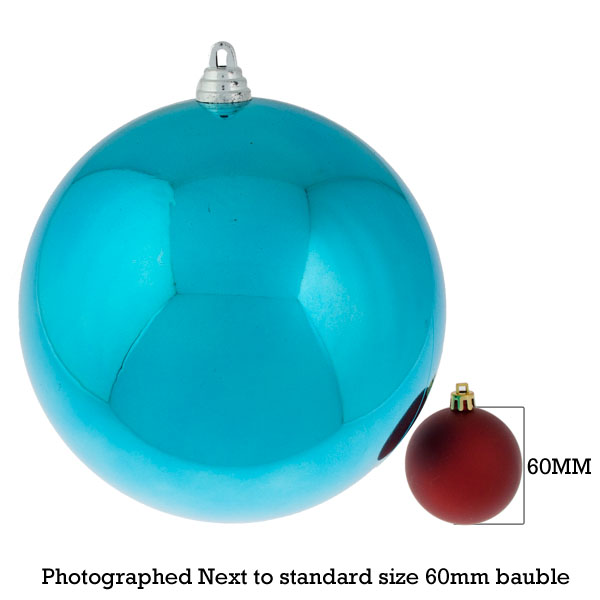 Light Turquoise Baubles Shiny Shatterproof - Single 200mm