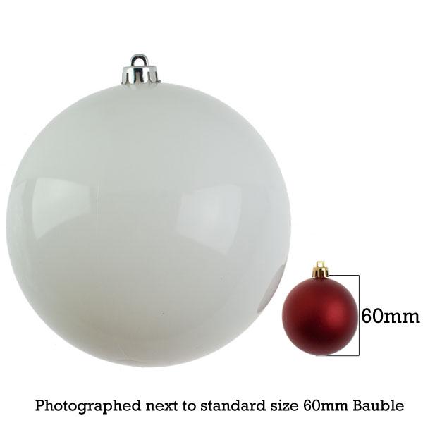 White Baubles Shiny Shatterproof - Single 200mm