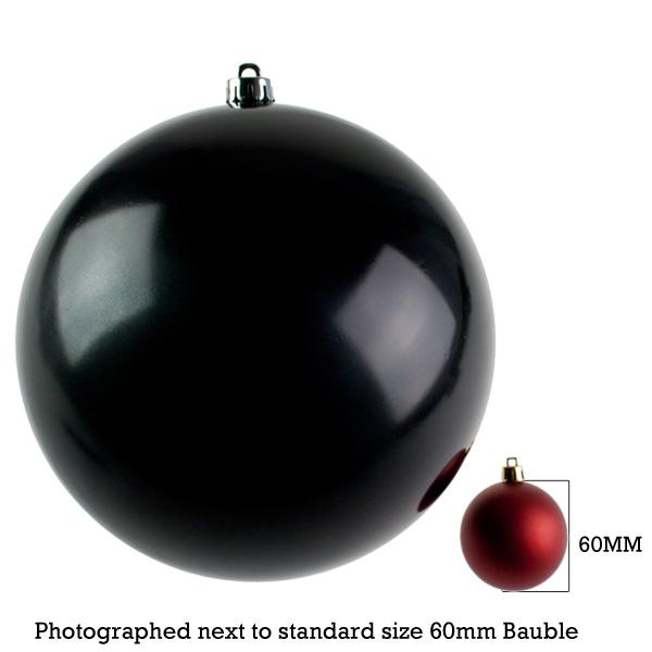 Black Baubles Shiny Shatterproof - Single 250mm