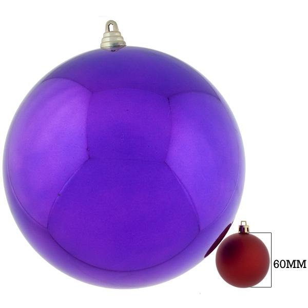 Purple Baubles Shiny Shatterproof - Single 250mm