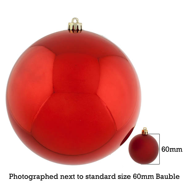 Red Baubles Shiny Shatterproof - Single 250mm