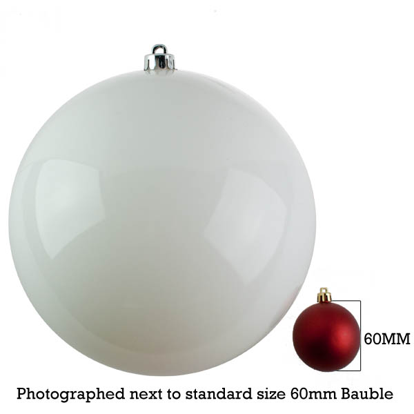 White Baubles Shiny Shatterproof - Single 250mm