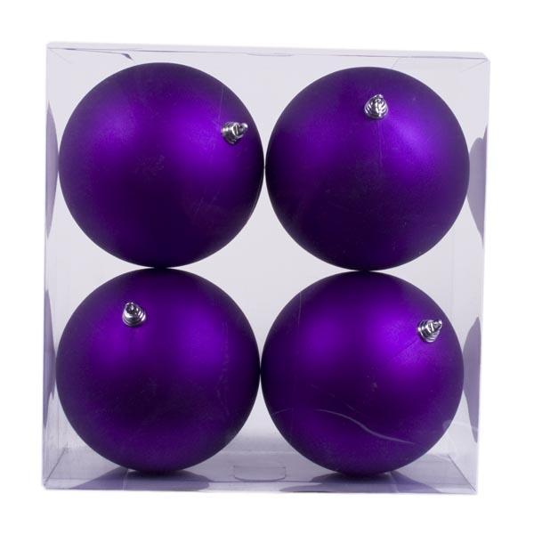 Purple Shatterproof Baubles  - Pack of 4 x 140mm Matt