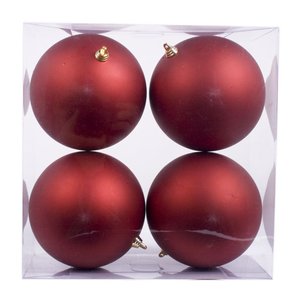 Red Shatterproof Baubles  - Pack of 4 x 140mm Matt