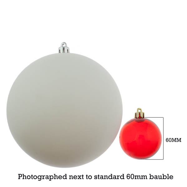 White Shatterproof Baubles  - Pack of 4 x 140mm Matt