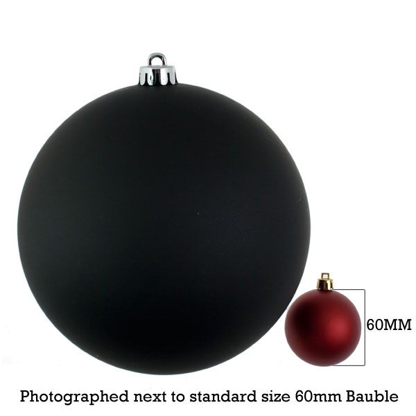 Black Shatterproof Baubles  - Single 200mm Matt