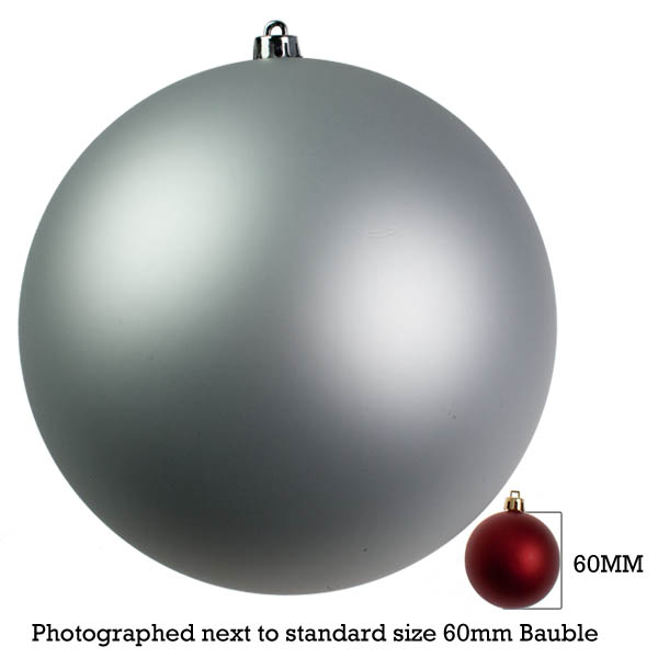 Silver Shatterproof Baubles  - Single 300mm Matt