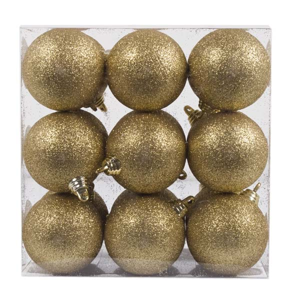 Xmas Baubles - Pack of 18 x 60mm Gold Glitter Shatterproof (021-14913-060-GD)