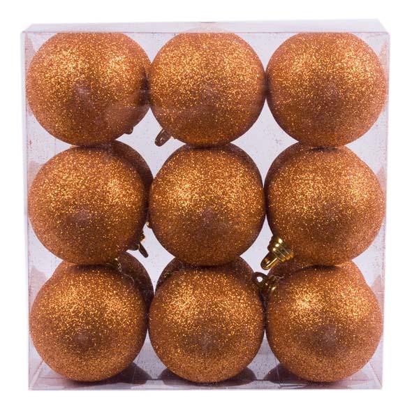 Xmas Baubles - Pack of 18 x 60mm Copper Orange Glitter Shatterproof