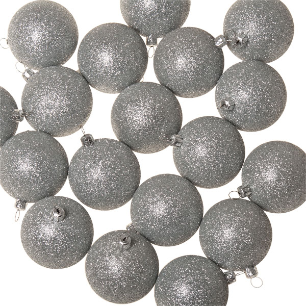 Xmas Baubles - Pack of 18 x 60mm Silver Glitter Shatterproof