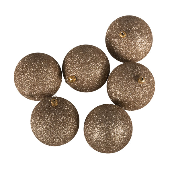 Xmas Baubles - Pack of 6 x 80mm Caramel Glitter Shatterproof