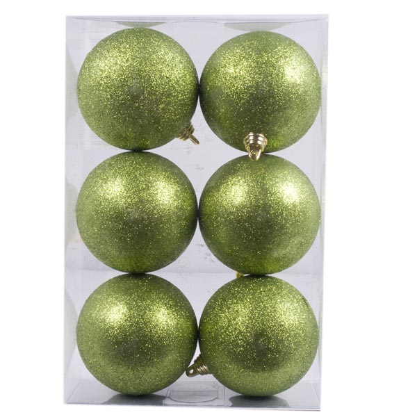 Pale Green Shatterproof Christmas Tree Decoration 6 Pack 60mm Baubles