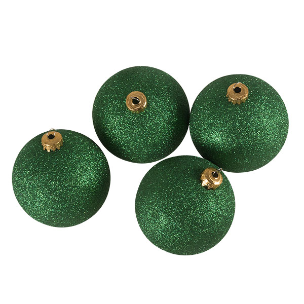 Xmas Baubles - Pack of 4 x 100mm Emerald Green Glitter Shatterproof
