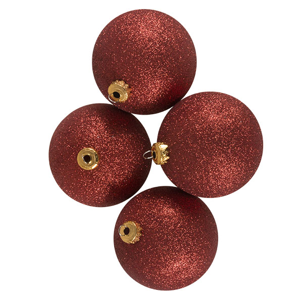 Xmas Baubles - Pack of 4 x 100mm Red Glitter Shatterproof