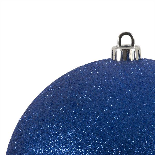 Xmas Baubles - Single 200mm Blue Glitter Shatterproof