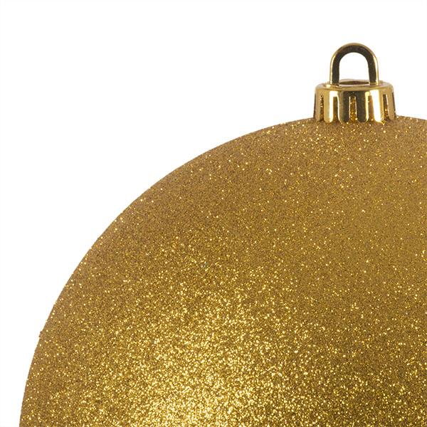 Xmas Baubles - Single 200mm Gold Glitter Shatterproof