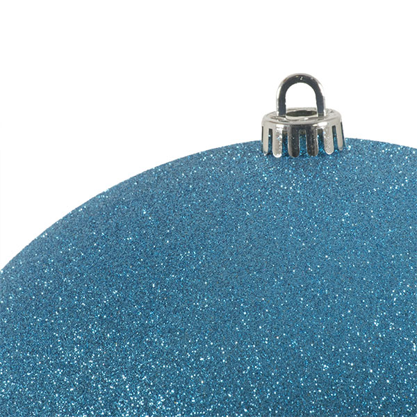 Xmas Baubles - Single 250mm Aqua Turquoise Glitter Shatterproof