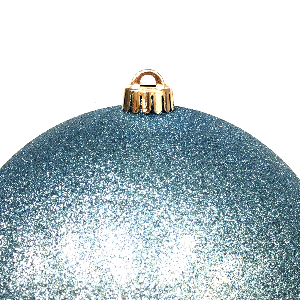 Xmas Baubles - Single 250mm Gentle Blue Glitter Shatterproof