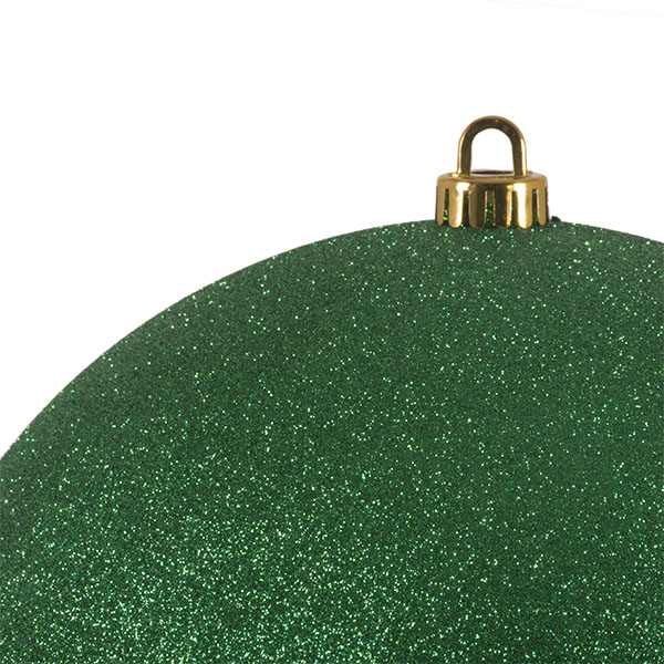 Xmas Baubles - Single 250mm Emerald Green Glitter Shatterproof