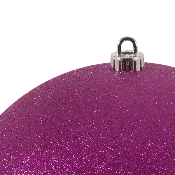 Xmas Baubles - Single 250mm Cerise Pink Glitter Shatterproof