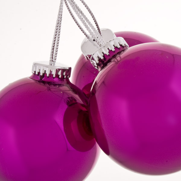 Trio Of Shiny Pink Seamless Shatterproof Baubles - 65mm